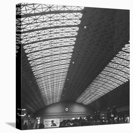 Interior of Union Station, Showing Detail of Glass and Iron Vaulted Ceiling-Walker Evans-Stretched Canvas Print