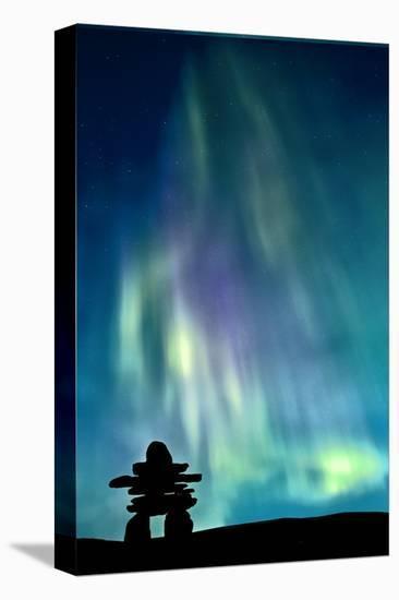Inukshuk & Northern Lights--Stretched Canvas Print
