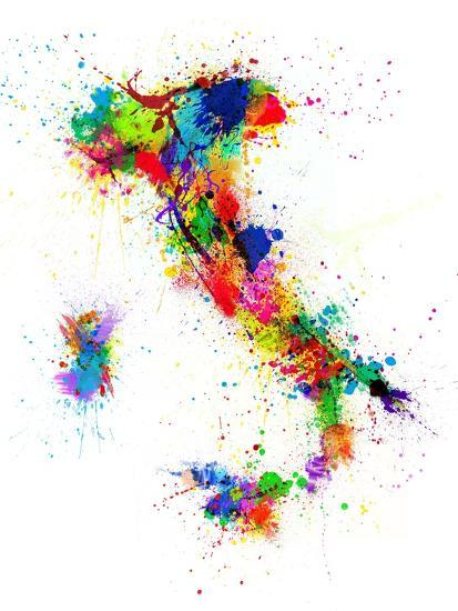 Italy Map Paint Splashes-Michael Tompsett-Stretched Canvas Print