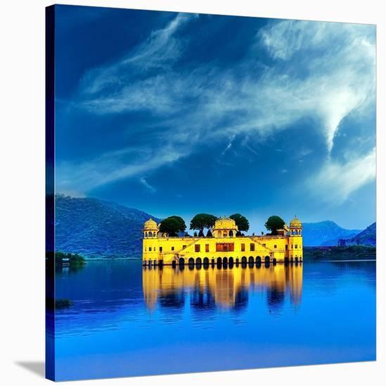 Jal Mahal & Lake Jaipur India--Stretched Canvas Print
