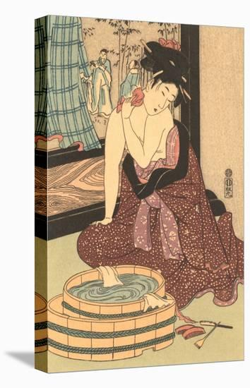 Japanese Woodblock, Lady at Bath--Stretched Canvas Print