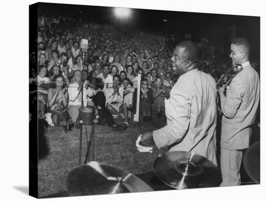 Jazz Trumpeter Louis Armstrong During a Performance-Gordon Parks-Stretched Canvas Print