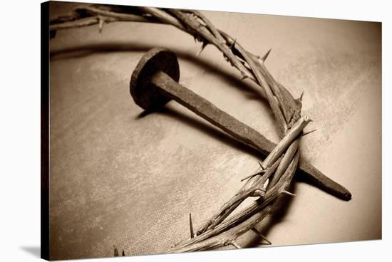 Jesus Crown of Thorns & Nail--Stretched Canvas Print