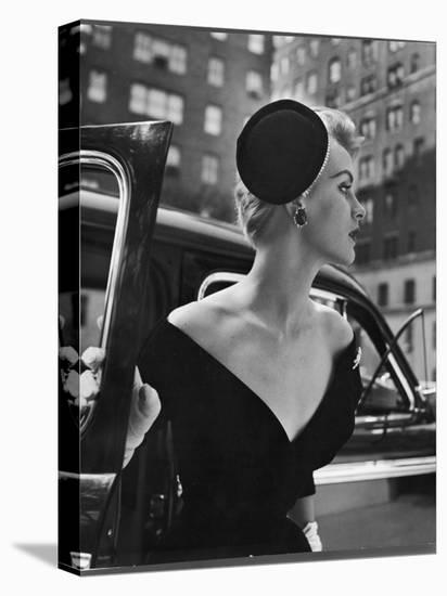 Jeweled Stay Put Cocktail Hat at Reckless Angle-Nina Leen-Stretched Canvas Print