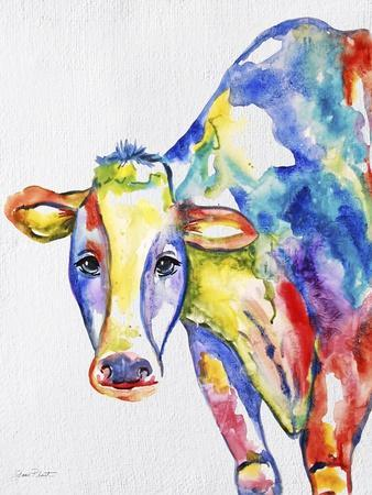 JP2489-Colorful Cow-Jean Plout-Stretched Canvas Print
