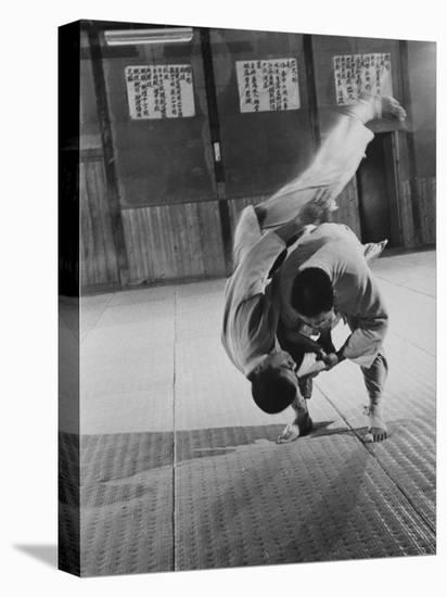 Judo Practice in Japan-Larry Burrows-Stretched Canvas Print