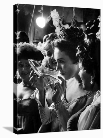 Julie Andrews Taking a Sip from the Glass Slipper During the TV Production of Cinderella-Gordon Parks-Stretched Canvas Print