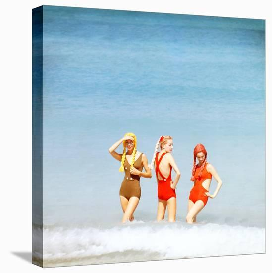 June 1956: Girls in Braided Wigs Modeling Beach Fashions in Cuba-Gordon Parks-Stretched Canvas Print