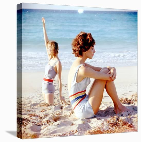 June 1956: Girls in Striped Swimsuit Modeling Beach Fashions in Cuba-Gordon Parks-Stretched Canvas Print