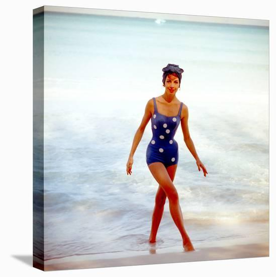 June 1956: Woman in Polka-Dot Swimsuit Modeling Beach Fashions in Cuba-Gordon Parks-Stretched Canvas Print