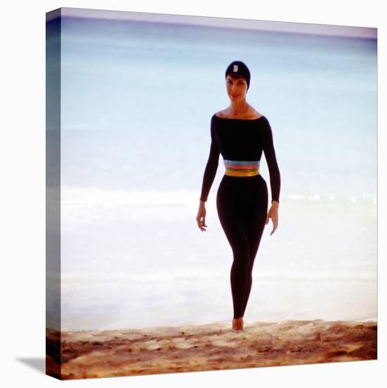 June 1956: Woman Modeling Beach Fashions in Cuba-Gordon Parks-Stretched Canvas Print