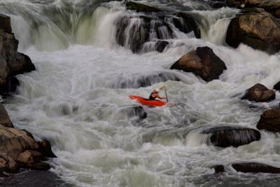 Kayak Surfing in Whitewater on the Potomac River-Tyrone Turner-Stretched Canvas Print