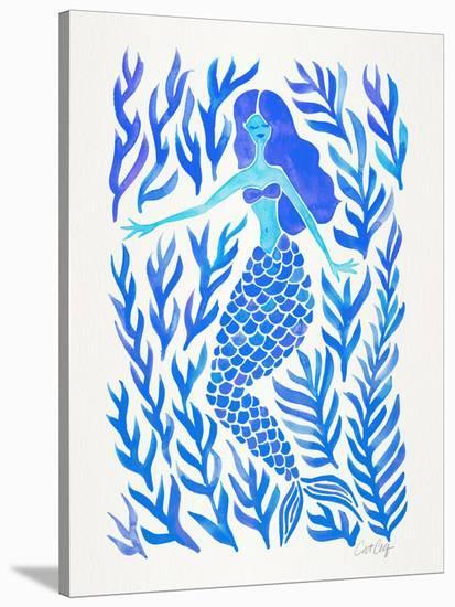 Kelp Forest Mermaid Blue-Cat Coquillette-Stretched Canvas Print
