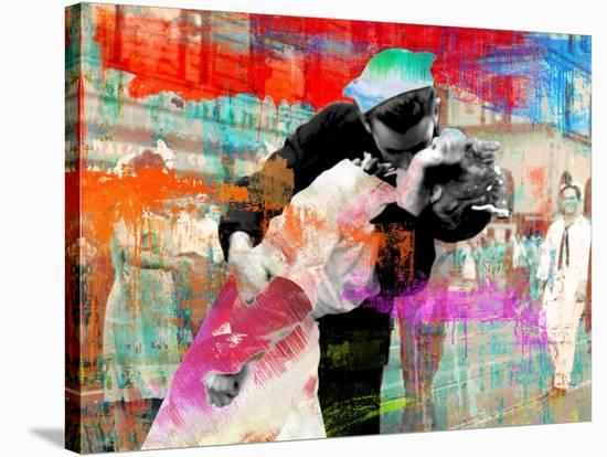 Kissing the War Goodbye 2.0-Eric Chestier-Stretched Canvas Print