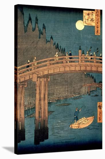 """Kyoto Bridge by Moonlight, from the Series """"100 Views of Famous Place in Edo,"""" Pub. 1855-Ando Hiroshige-Stretched Canvas Print"""