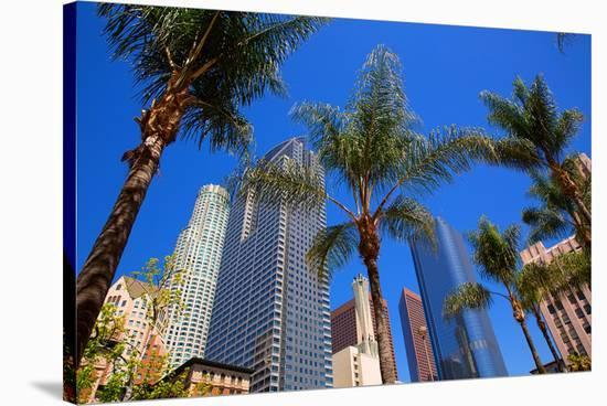 LA-Pershing Square Palm Tress--Stretched Canvas Print