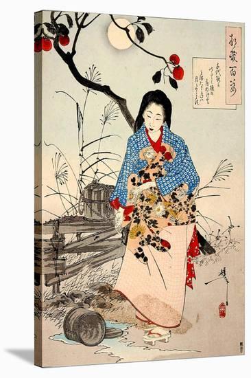 Lady Chiyo, One Hundred Aspects of the Moon-Yoshitoshi Tsukioka-Stretched Canvas Print