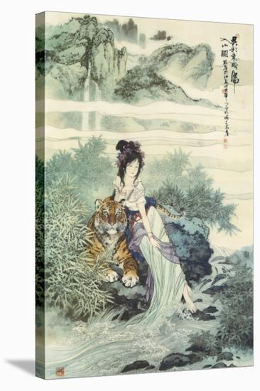 Lady with Tiger--Stretched Canvas Print