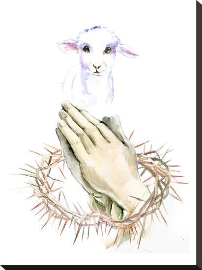 Lamb Pray-Suren Nersisyan-Stretched Canvas Print
