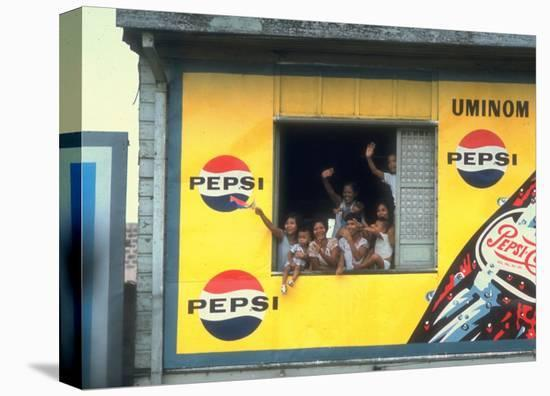 Large Billboard Painted on Side of Building Advertising Pepsi Cola, Manila, Philippines-Arthur Schatz-Stretched Canvas Print