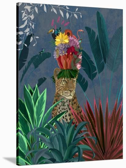 Leopard with Headdress-Fab Funky-Stretched Canvas Print