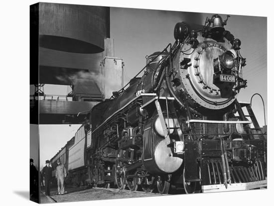 Locomotive of Train at Water Stop During President Franklin D. Roosevelt's Trip to Warm Springs-Margaret Bourke-White-Stretched Canvas Print