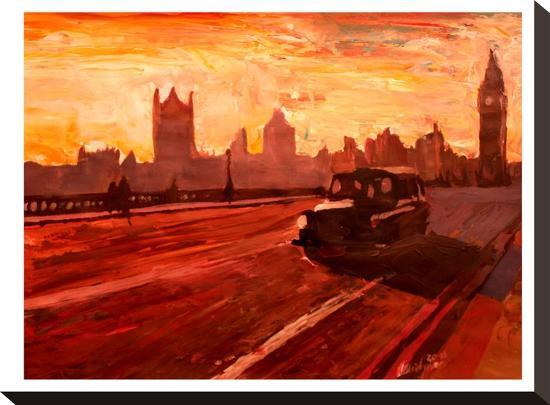 London Bus Dusk-M Bleichner-Stretched Canvas Print