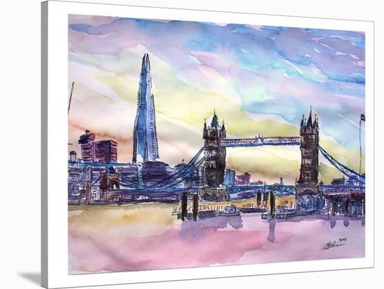 London England The Shard And Tower Bridge 2-M Bleichner-Stretched Canvas Print