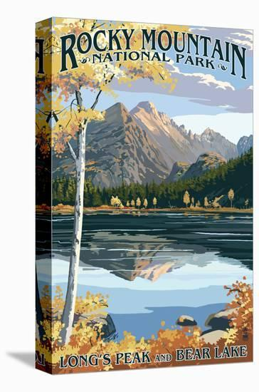 Long's Peak and Bear Lake - Rocky Mountain National Park-Lantern Press-Stretched Canvas Print