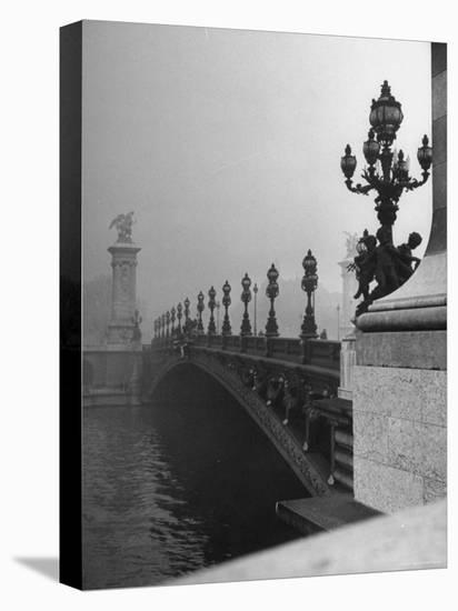 Looking Across the Pont Alexandre III Bridge Toward the Grand Palace-Ed Clark-Stretched Canvas Print