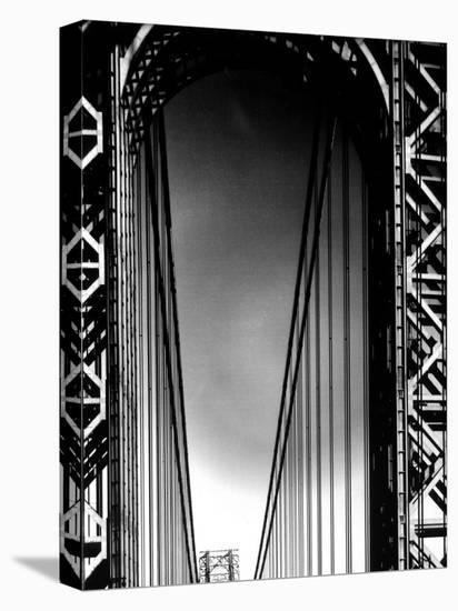 Looking up to Tower on the George Washington Bridge-Margaret Bourke-White-Stretched Canvas Print