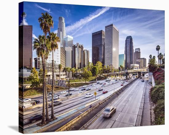 Los Angeles Downtown Cityscape--Stretched Canvas Print