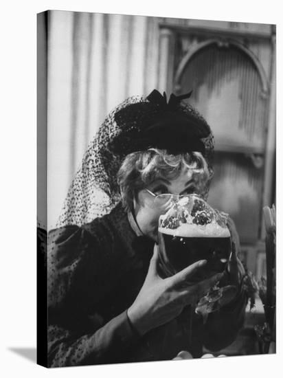 """Lucille Ball Drinking Beer Between Scenes of a Skit in Show Called """"The Good Years""""-Leonard Mccombe-Stretched Canvas Print"""