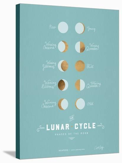 Lunar Phases Robins Egg Blue-Cat Coquillette-Stretched Canvas Print