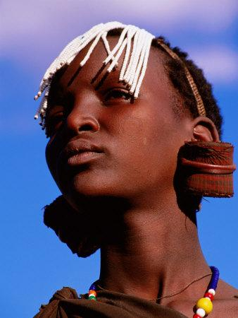 Maasai Girl with White Beads Indicating She Has Been Circumcised, Longido, Arusha, Tanzania-Ariadne Van Zandbergen-Stretched Canvas Print