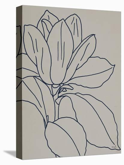 Magnolia Line Drawing v2 Gray Crop-Moira Hershey-Stretched Canvas Print