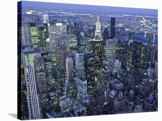 Manhattan skyline at dusk, NYC-Michel Setboun-Stretched Canvas Print