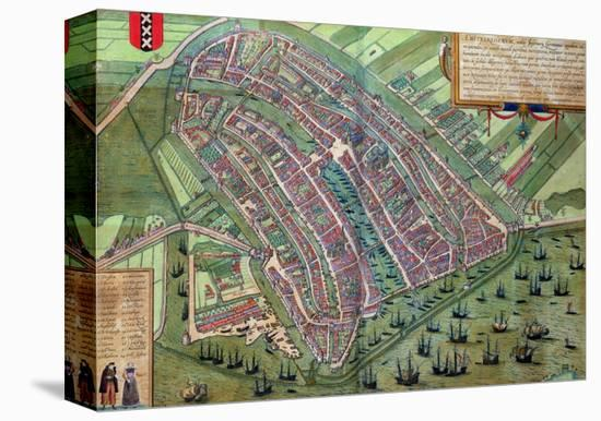 "Map of Amsterdam, from ""Civitates Orbis Terrarum"" by Georg Braun and Frans Hogenburg, circa 1572-Joris Hoefnagel-Stretched Canvas Print"
