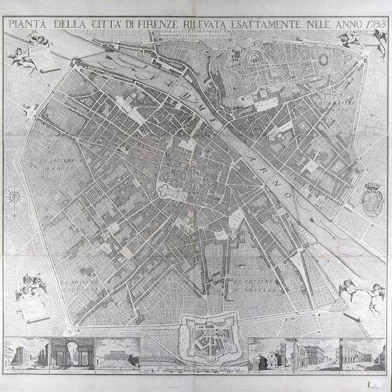 Map of Florence, 1783- Magnelli-Stretched Canvas Print