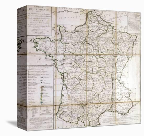 Map of France Divided into Provinces- Cesar Francois Cassini De Thury-Stretched Canvas Print