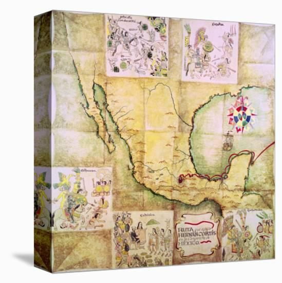 Map of the Route Followed by Hernando Cortes During the Conquest of Mexico--Stretched Canvas Print