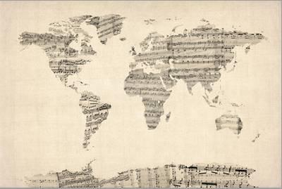 Map of the World Map from Old Sheet Music-Michael Tompsett-Framed Stretched Canvas Print