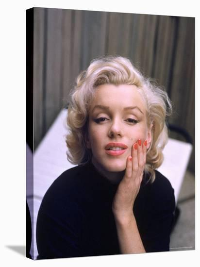 Marilyn Monroe on Patio Outside of Her Home-Alfred Eisenstaedt-Stretched Canvas Print