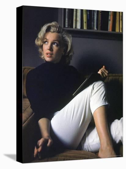Marilyn Monroe Relaxing at Home-Alfred Eisenstaedt-Stretched Canvas Print
