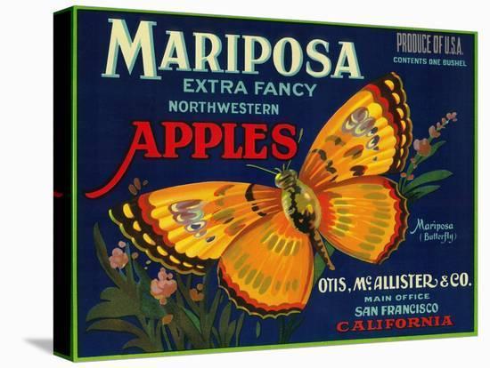 Mariposa Apple Label - San Francisco, CA-Lantern Press-Stretched Canvas Print