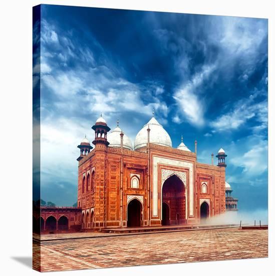 Masjid Mosque-Taj Mahal India--Stretched Canvas Print