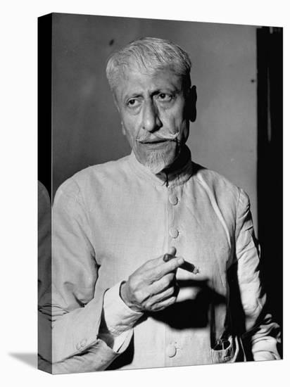 Maulana Azad, Moslem Head of India's Congress Party, Holding a Lit Cigar-Margaret Bourke-White-Stretched Canvas Print
