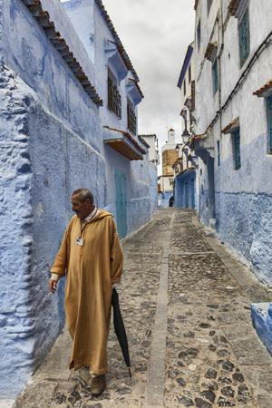 Medina, old town, Chefchaouen, Chaouen, Morocco-Ian Trower-Stretched Canvas Print