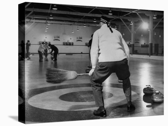 Men Curling with Mops and Brooms-George Skadding-Stretched Canvas Print