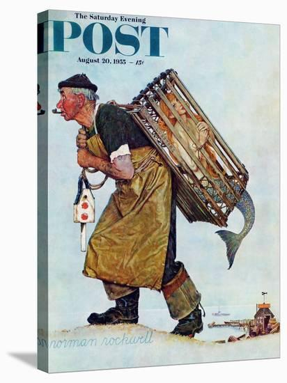"""Mermaid"" or ""Lobsterman"" Saturday Evening Post Cover, August 20,1955-Norman Rockwell-Stretched Canvas Print"